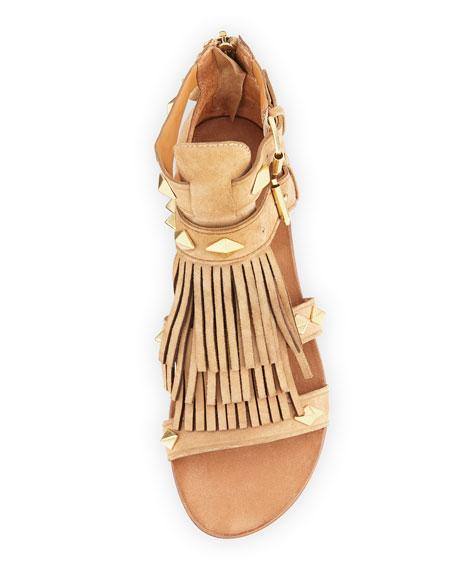 Mascara Suede Fringe Flat Sandal, Neutral