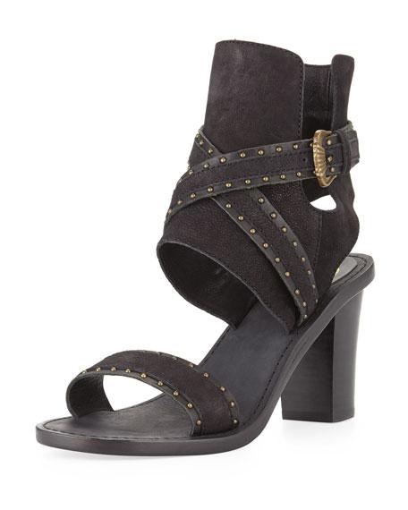 Quantum Ankle-Wrap City Sandal, Black