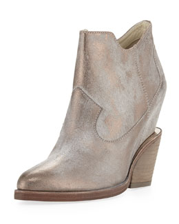 Ash Lula Metallic Wedge Ankle Boot, Taupe/Pewter
