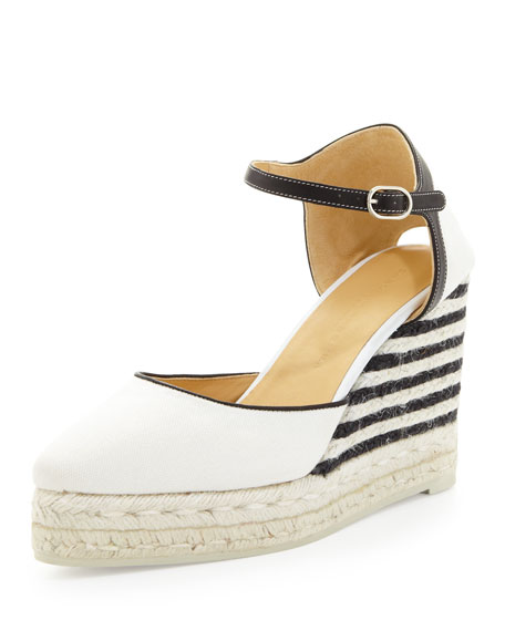 Canvas Striped-Wedge Espadrille, Ivory/Black