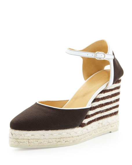 Canvas Striped-Wedge Espadrille, Smoky Umber/Ivory