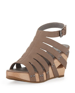 Eileen Fisher Lotus Strappy Wedge Sandal, Taupe