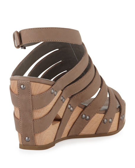 Lotus Strappy Wedge Sandal, Taupe