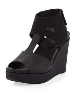 Eileen Fisher Dote Mesh-Ankle Leather Wedge