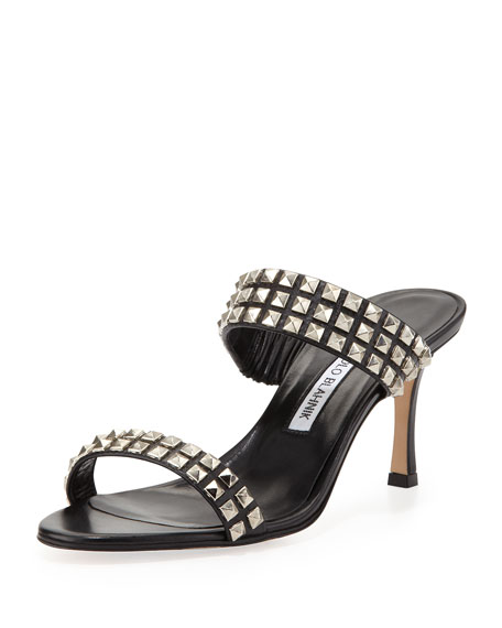 Manolo Blahnik Leather Studded Sandals discount find great ElVkPFHd