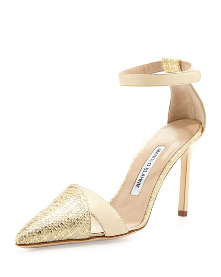 Manolo Blahnik Mattick Point-Toe Metallic Pump, Gold