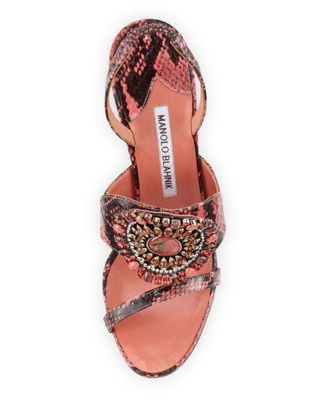 Ronda Jeweled Snakeskin Sandal, Pink