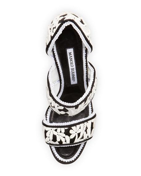 Plusanda Lace Double-Band Sandal, Black/White