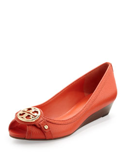 Tory Burch Leticia Peep-Toe Low Wedge, Poppy Red