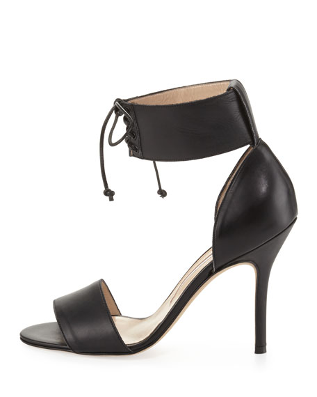 Olli Lace-Up Ankle-Cuff Toe-Band Pump, Black