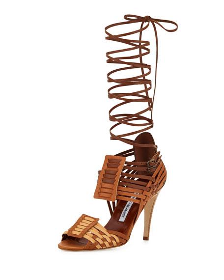 Manolo Blahnik Corda Woven Strappy Sandal, Bulgaro