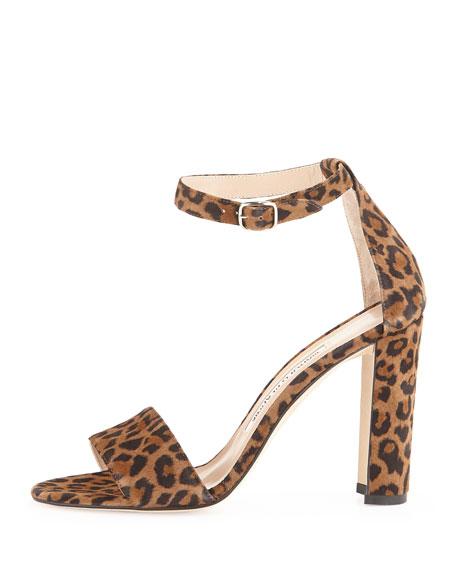 Lauratop Suede Ankle-Wrap Sandal, Leopard