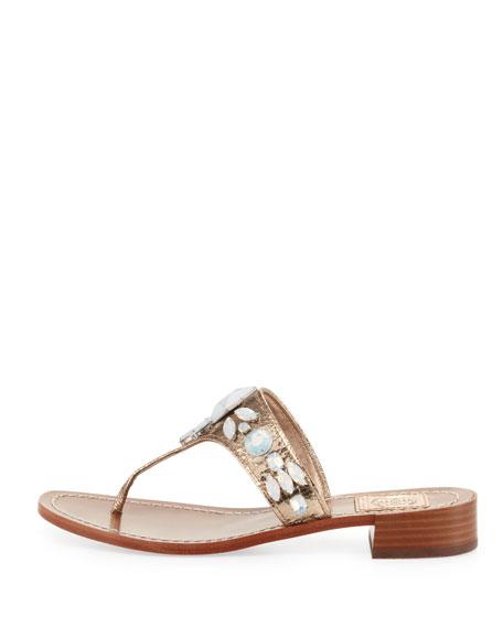 Ginevra Jeweled Thong Sandal, Platinum