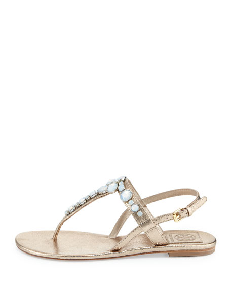 Callie Metallic Thong Sandal, Platinum