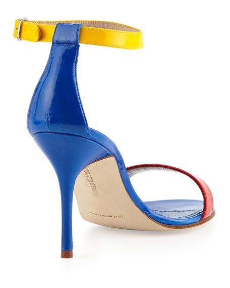 Chaos Colorblock Patent Ankle-Strap Sandal, Blue