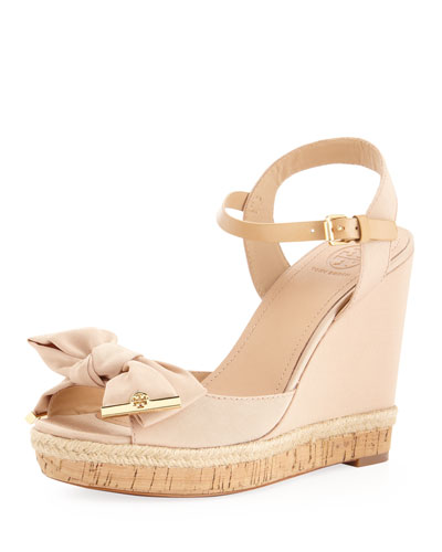 Tory Burch Penny Faille Bow Wedge, Camellia Pink