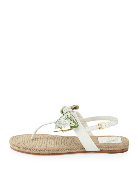 Penny Floral-Print Bow Thong Sandal