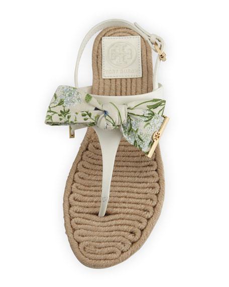 Penny Floral-Print Bow Thong Sandal