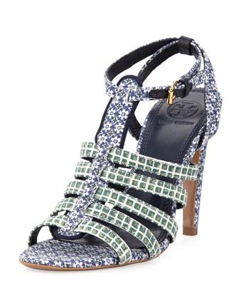Tory Burch Charlene Printed Sandal, Ressoa Blue