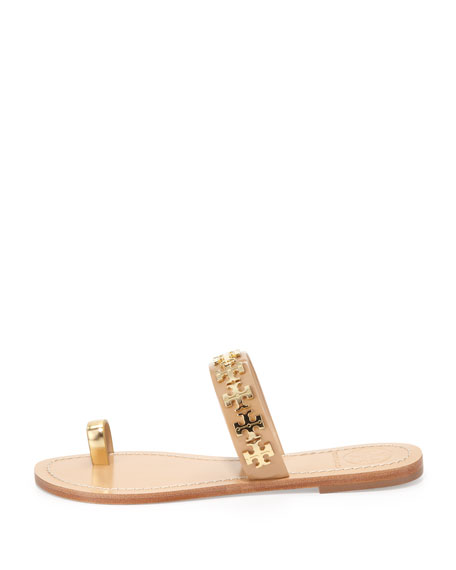 Val Patent Toe-Ring Sandal, Camellia Pink/Gold