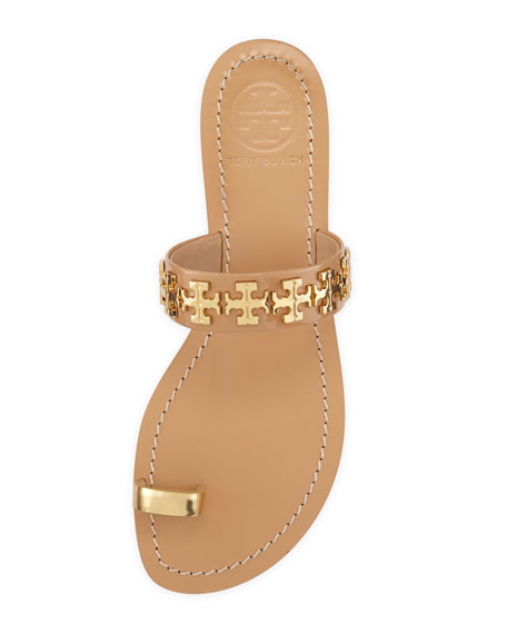 Val Patent Toe-Ring Sandal, Camellia Pink/Gold