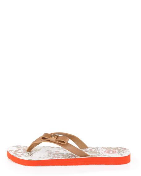 Carlton Logo Bow Flat Flip-Flop, Clay Beige