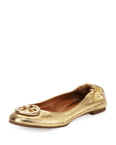 Tory Burch Reva Crackled Metallic Ballerina Flat, Gold