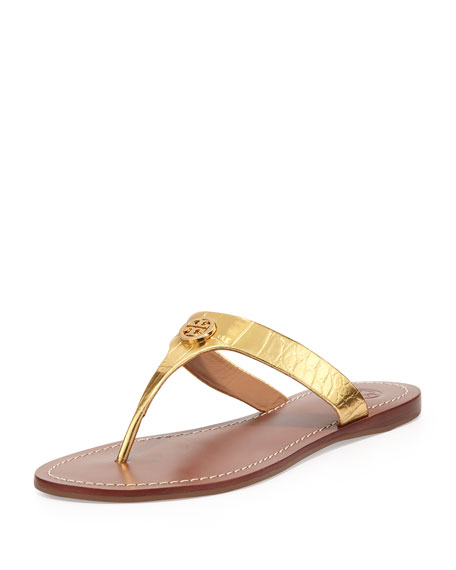 Cameron Croc-Embossed Thong Sandal, Gold