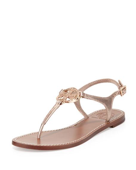 Violet Logo Thong Sandal, Rose Gold