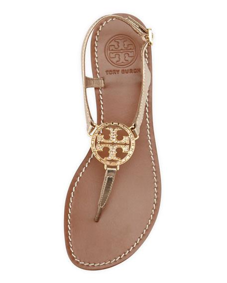 Studded Logo Thong Sandal, Platinum