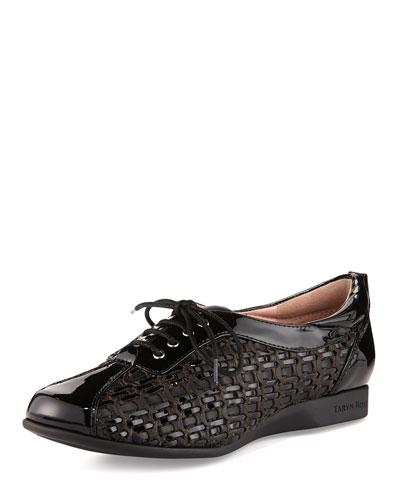 Taryn Rose Trudee Woven Lace-Up Sneaker, Black