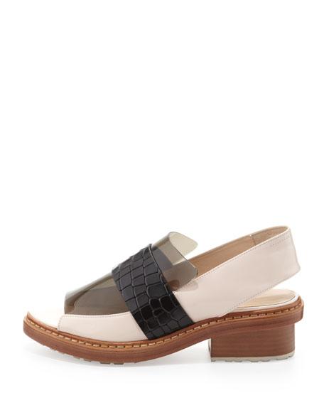 Darwin Peep-Toe Slingback Loafer, Powder/Black