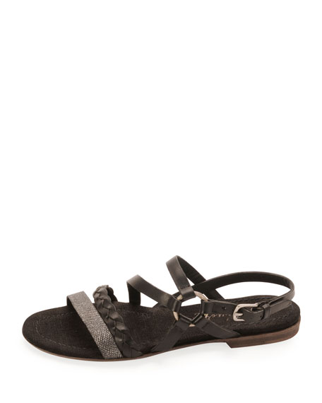 Strappy Braided Leather Sandal, Nero