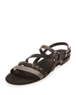 Henry Beguelin Strappy Braided Leather Sandal, Nero
