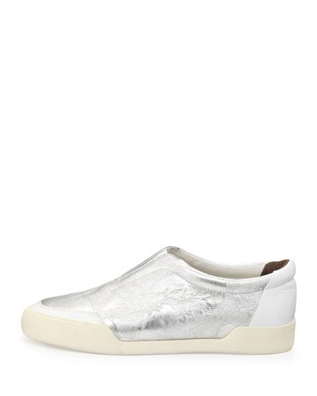 Morgan Metallic Slip-On Sneaker, Silver/White