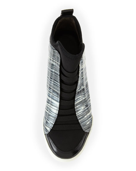 Morgan Marbled Slip-On Sneaker, Black/White