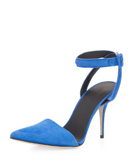 Alexander Wang Lovisa Pointy Ankle-Wrap Pump, Royal