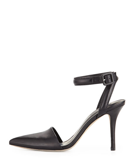Lovisa Leather Ankle-Wrap Pump, Black
