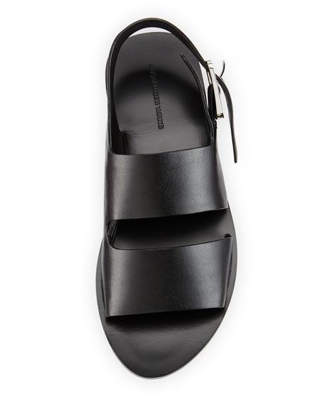 Eva Double-Strap Leather Sandal, Black