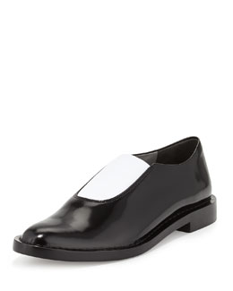 Alexander Wang Darla Leather Stretch Loafer, Black/White