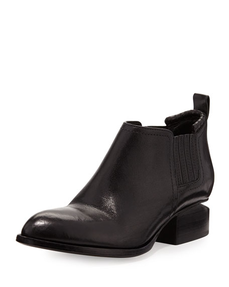 wang kori tumbled leather lift heel ankle boot