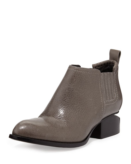 Kori Leather Lift-Heel Ankle Boot, Gunpowder