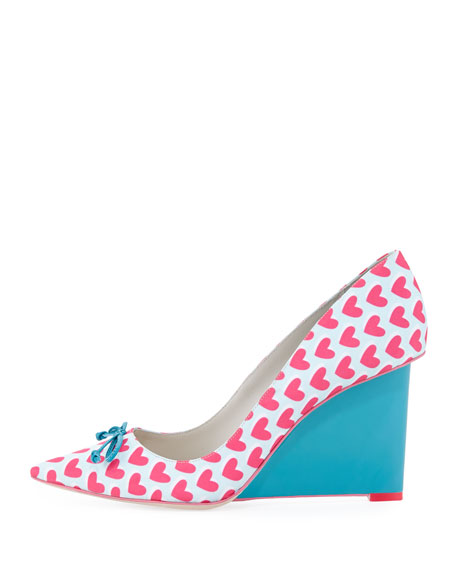 Lola Heart-Print Wedge Pump, Pink/Spearmint