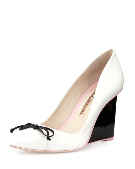 Lola Leather Wedge Pump, White/Black