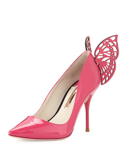 Sophia Webster Yara Patent Butterfly Pump, Very Berry