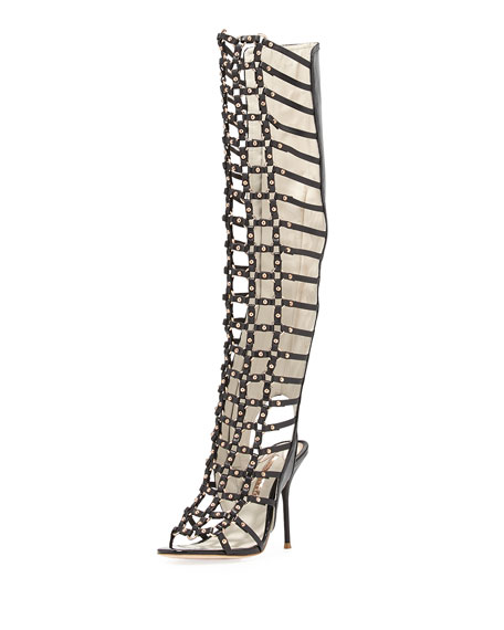 Fantasia Knee-High Leather Gladiator Sandal, Black