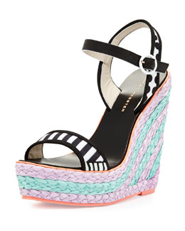 Sophia Webster Lucita Mixed-Pattern Wedge Sandal, Black/White