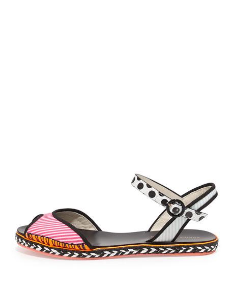 Marcela Flat Espadrille Sandal, Pink Stripe