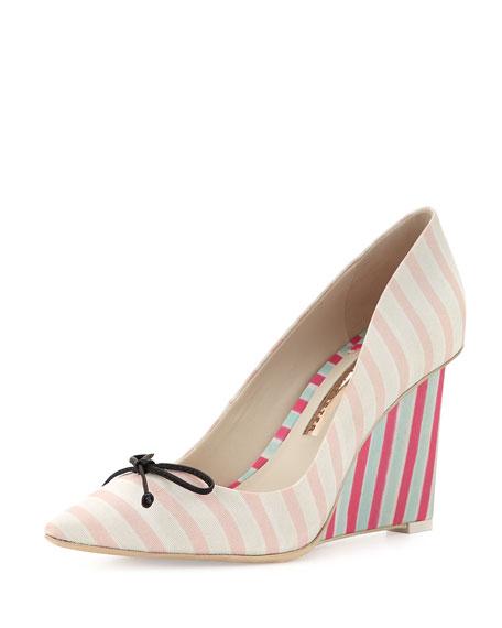 Lola Striped Wedge Pump, Pale Pink
