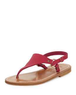 K. Jacques Triton Leather Thong Sandal, Dark Pink